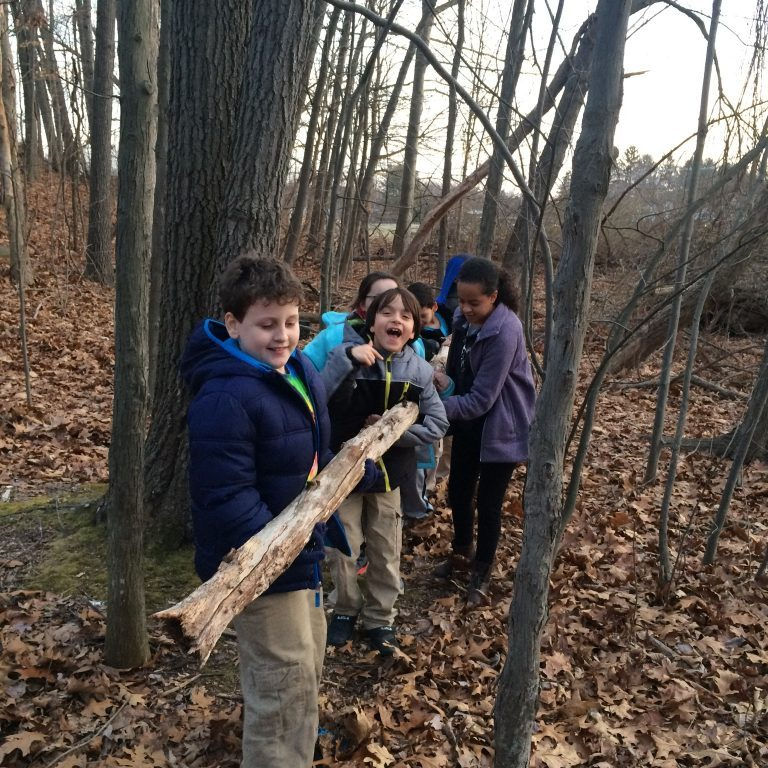 Shelter building - Carrying a log