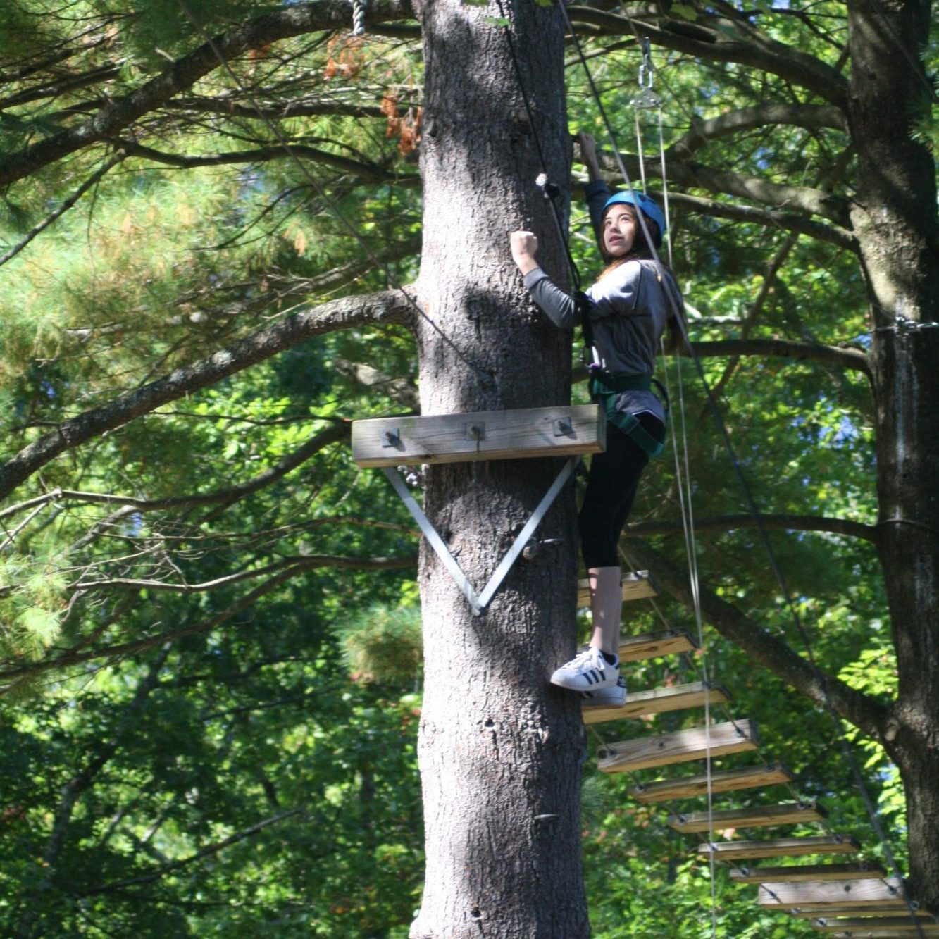 ropes course girl standing on tree
